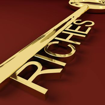 Riches Gold Key Representing Wealth and Treasure