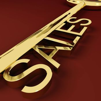 Sales Gold Key Representing Business And Ecommerce