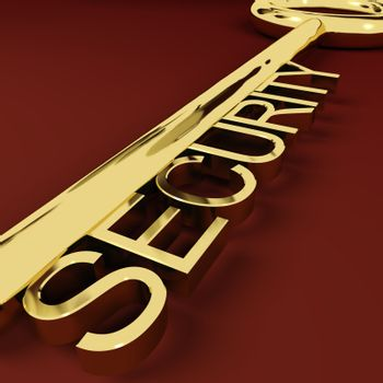 Security Gold Key Representing Safety And Protection