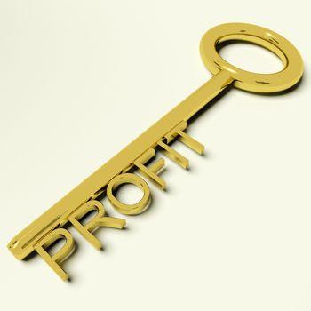 Profit Gold Key Representing Market And Trade Success