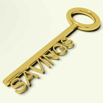 Savings Gold Key Representing Money And Investment