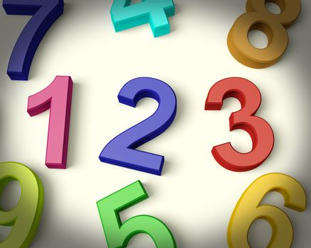 Kids Multicolored Numbers Representing Numeracy And Education
