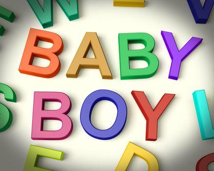 Baby Boy Written In Multicolored Kids Letters