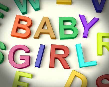Baby Girl Written In Multicolored Kids Letters