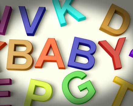 Baby Girl Written In Multicolored Kids Letters Representing Newborn