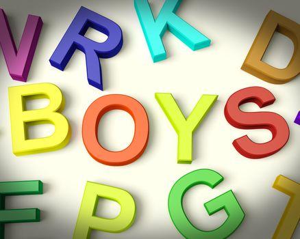 Boys Written In Multicolored Plastic Kids Letters