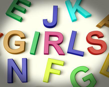 Girls Written In Multicolored Plastic Kids Letters