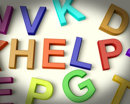 Help Written In Multicolored Plastic Kids Letters