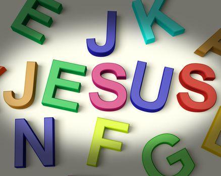 Jesus Written In Multicolored Plastic Kids Letters