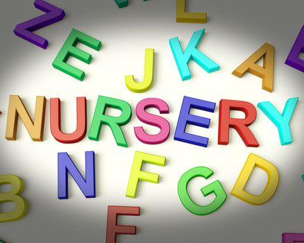 Nursery Written In Multicolored Plastic Kids Letters