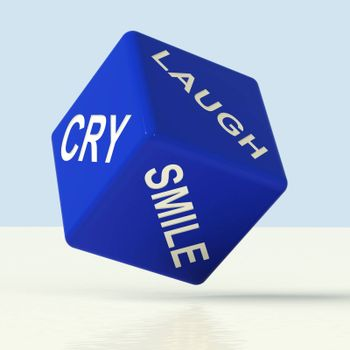 Laugh Cry Smile Blue Dice Representing Different Emotions
