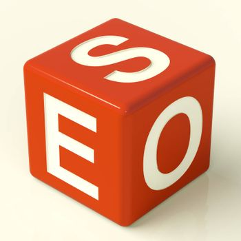 Seo Red Dice Representing Internet Optimization And Promotion