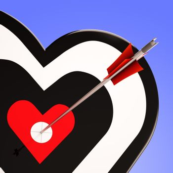 Heart Target Showing Love Romance And Perfect Feeling