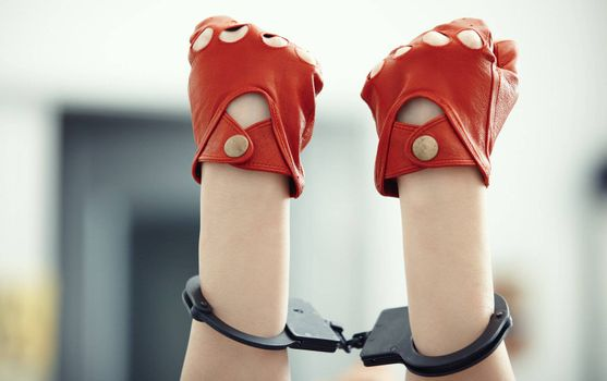 Two human hands in wristlets. Horizontal photo