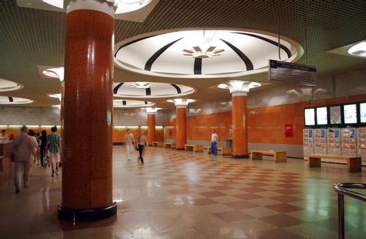 Peoples in Moscow metro station Park Pobedy      Peoples in Moscow metro station Park Pobedy