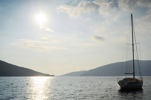 Silhouette of sail boat in the sea. Herceg Novi, Montenegro