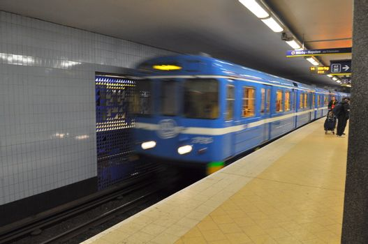 A train in the stockholm subway.