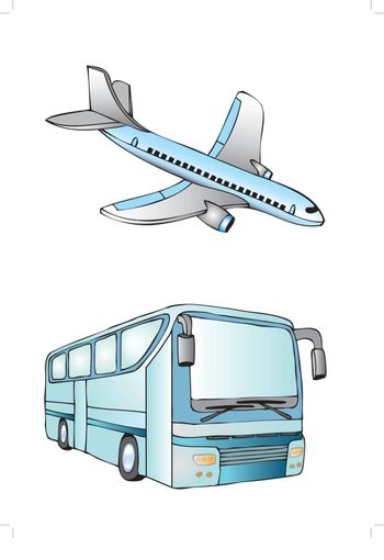 plane and bus