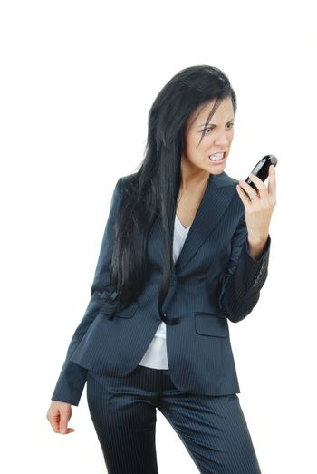 Angry businesswoman on a white background with broken mobile phone