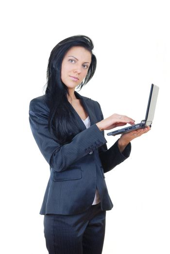 Student or businesswoman with small laptop