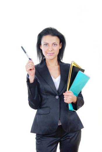 Successful businesswoman with document folder and pen