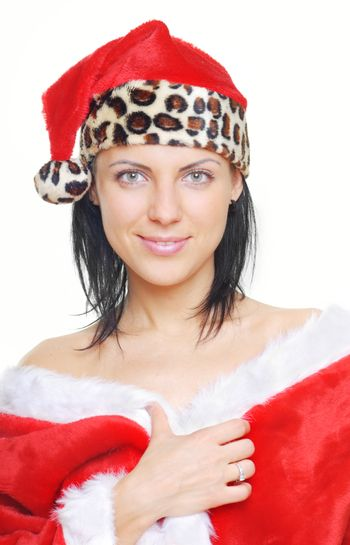 Serene pretty smiling woman in Santa Claus costume