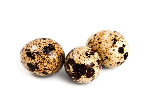 three quail eggs
