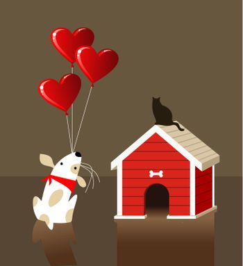 The dog gives to the cat a lot of balloons with red lovely heart shape. Vector file available.