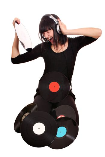 girl hold lp record and listening music