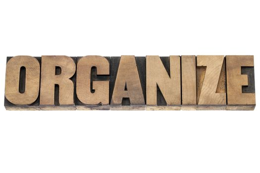 organize word in wood type