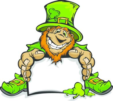 Happy Cartoon Leprechaun on St Patrick's Day Holiday Vector Illustration