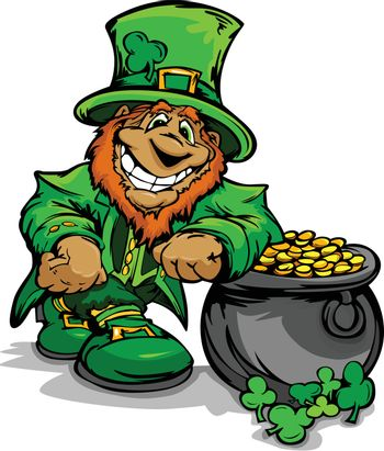 Happy Cartoon Leprechaun on St Patrick Day Holiday Leaning of  a Pot of Gold Vector Illustration