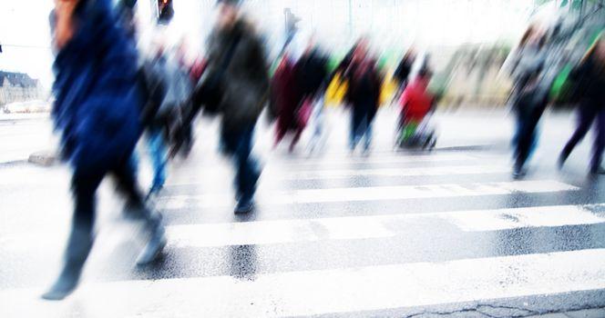 Pedestrian crossing rush.