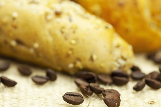 bread and coffee on linen fabric