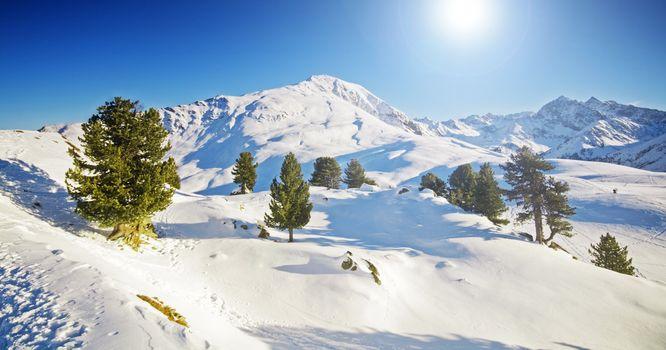Sunny winter mountain lanscape