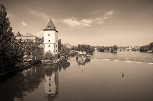 Prague. Vltava river - view from Jirasek bridge
