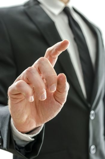 Businessman's hand with pointed finger