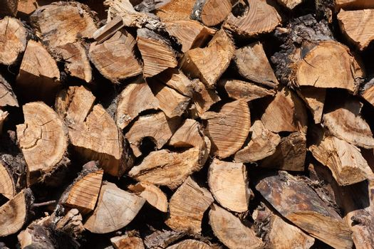 Firewood stacked in a woodpile