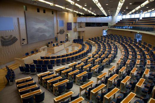 Interior of Swedish parliament in Stockholm
