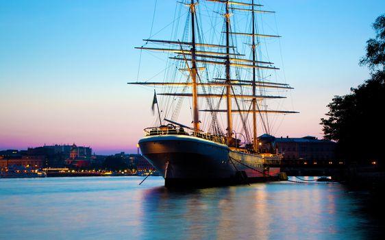Ship at sunset, Stockholm, Sweden