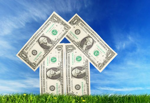 Home imagination made from dollars bills