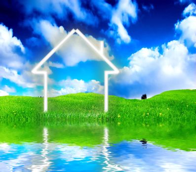New house imagination vision on green meadow.