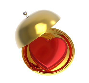 Red heart on a golden platter, isolated on white background, render