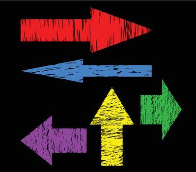 collection of vector rough color arrows for design
