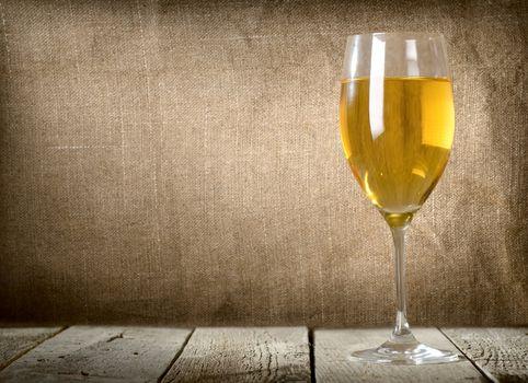Glass of dessert white wine