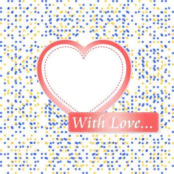 retro pastel mosaic love heart. st. valentine vector theme