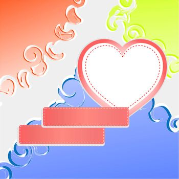 Cute doodle romantic abstract background with heart. vector