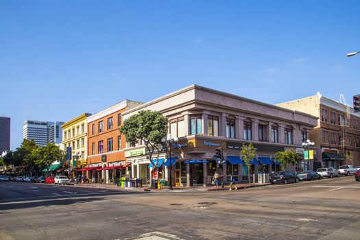 SAN DIEGO, USA - JUNE 11: facade of historic houses in the gaslamp quarter on June 11, 2012 in San Diego, USA. The area is a historic district on the National Register of Historic Places and dates back to 1867.