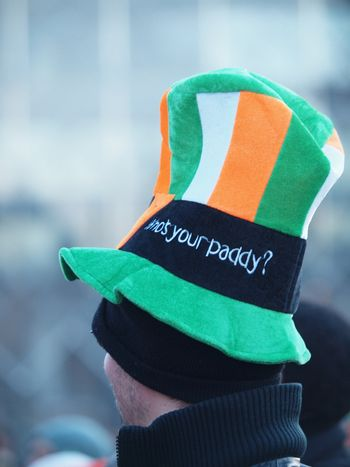 COPENHAGEN - MAR 17: Man with colourful hat at the annual St. Patrick's Day celebration and parade in front of Copenhagen City Hall, Denmark on March 17, 2013.
