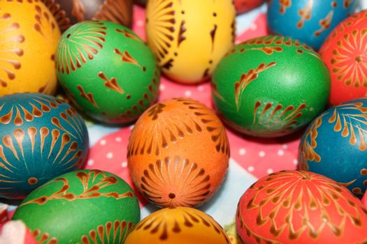 Painted eggs are decorated by various techniques before Easter